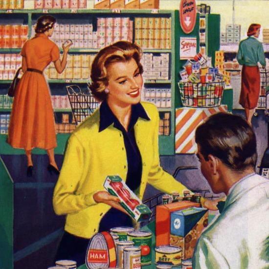 Frau im Supermarkt packt Ware ein