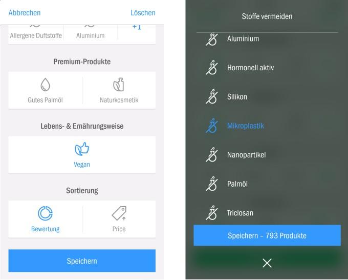 Screenshot der Filteroption in der App Codecheck