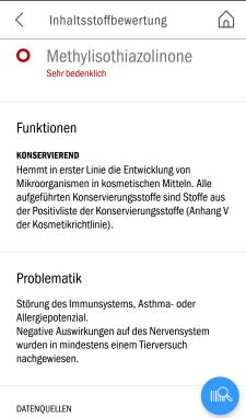 Screenshot einer Inhaltsstoffbewertung in der App Codecheck